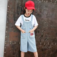 女童牛仔背带裤套装夏季洋气破洞裤子儿童短袖两件套