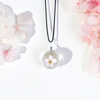 樱花饰品植物标本玻璃球干花项链闺蜜吊坠锁骨链女生生日礼物批发
