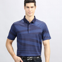 男装短袖T恤衫新款夏条纹翻领中年男士商休闲桑蚕丝体恤