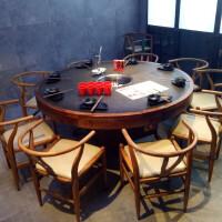 实木火锅桌电磁炉一体无烟净化烧烤桌子火烧石火锅桌椅组合定制