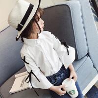 **儿童装女童春秋长袖白色衬衫宝宝衬衣韩版百搭2018春装新