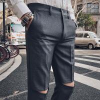 2018春季英伦风西裤男士九分裤青年修身免烫休闲裤弹力韩版小脚裤