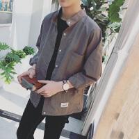 新款文艺2018秋季衬衫男士长袖衬衣韩版潮流衣服宽松寸衣