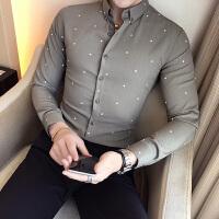 秋季男士长袖衬衣英伦修身个性点点衬衫潮流青年夜店酒吧帅气寸衫