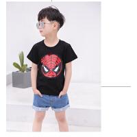 童装可翻转亮片T恤男女童短袖6抖音会变的衣服美国队长同款蜘蛛侠