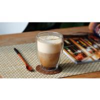 普润 双层玻璃杯隔热透明茶杯创意水杯耐热咖啡杯果汁饮料杯子350ml