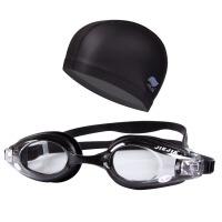 高清近视泳镜PU游泳帽套装男女防雾游泳眼镜大码防水PU泳帽游泳组合