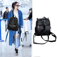 新款软皮双肩包女个性真皮女士羊皮时尚大容量百搭背包旅行包 大气黑