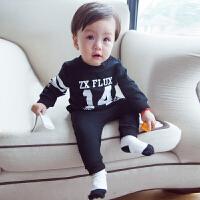 婴儿衣服新生儿秋季卫衣男女宝宝长袖裤子运动两件套纯棉字母套装