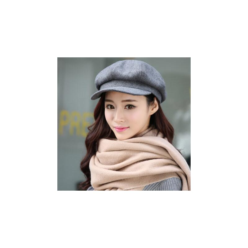 帽子女韩版潮八角帽贝雷帽女士时尚鸭舌帽毛呢渔夫帽