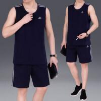 大码运动套装男无袖休闲服装跑步透气薄款棉长裤运动服男