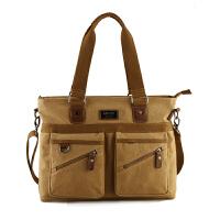 男士手提包包横款商务公文包帆布包电脑包休闲包单肩斜挎包男背包