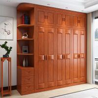实木衣柜现代橡木衣柜中式三四五六门整体柜实木衣柜大衣橱衣帽间