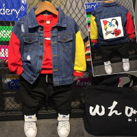 儿童韩版牛仔外套男童时尚夹克上衣男宝宝衣服春装2018新款C906 P