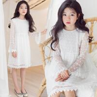 儿童连衣裙女春秋2018新款韩版时尚白色蕾丝裙女童圆领长袖中裙潮