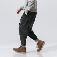 新款秋冬中国风男装系带复古小脚哈伦裤子做旧牛仔裤宽松灯笼