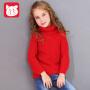 小猪班纳童装女童高领毛衣2018秋冬装新款儿童针织衫中大童毛衫