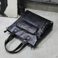 男包单肩包休闲运动包韩版时尚斜挎包男士包包背包潮流皮包竖款 黑色