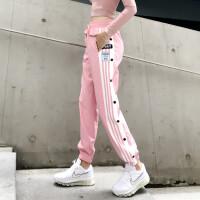 宽松运动裤女跑步长裤条纹系带速干收口束脚裤休闲健身瑜伽裤