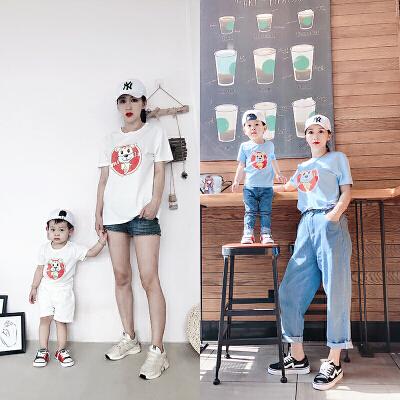 【开学季1件3折:28.2元】罗町夏装新款童装亲子装卡通图案全棉针织三色可选T恤亲子装