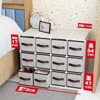 床头柜置物架简约现代抽屉式储物柜塑料组装床边收纳柜卧室小柜子 组装