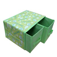 普润 单层双抽收纳盒/杂物整理箱抽屉柜式可折叠