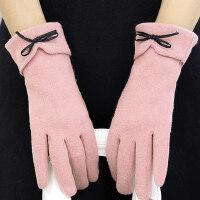 韩版新款加厚骑行开车保暖触摸屏手套女毛绒可爱学生全指手套