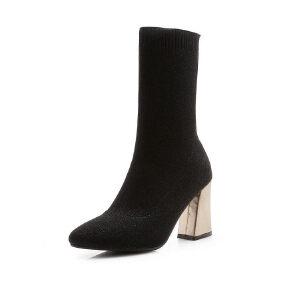 ELEISE美国艾蕾莎新品秋冬133-9742韩版弹力布粗跟高跟女士袜子靴