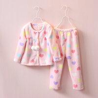 超柔 2016新款女童睡衣冬季加厚 韩版两件套儿童珊瑚绒家居服套装