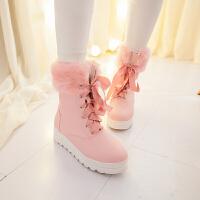 彼艾2017秋冬日系甜美学生粉色黑色平跟厚底系带雪地靴女冬靴子毛毛靴短靴
