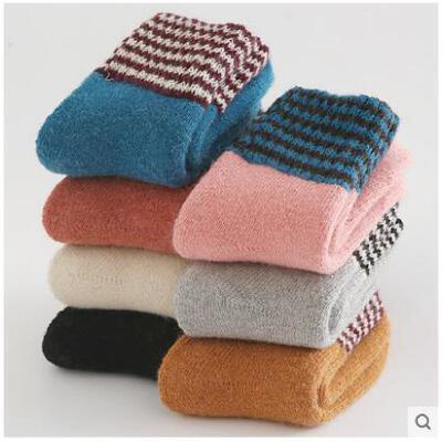 冬季羊绒袜子女加厚加绒保暖袜老人袜地板袜中筒睡眠毛圈袜羊毛袜