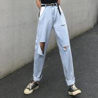 牛仔裤 女士高腰显瘦长款破洞宽松哈伦裤2020春秋新款女式浅色薄款休闲裤