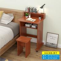 简约移动台式电脑桌学生单人小书桌子家用床边卧室书柜桌一体 60宽 套装红胡桃 桌子+凳子
