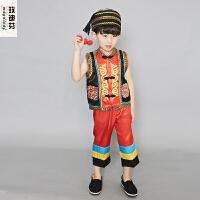 儿童演出服装少数民族男孩葫芦丝表演服苗族傣族舞蹈服装