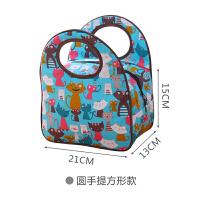 铝箔加厚便当包圆形双层保温桶袋手提饭盒袋子妈咪包A99 圆手提方形款