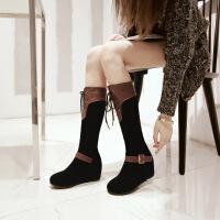 彼艾2017秋冬新款民族风坡跟内增高女靴前系带帅气皮带扣中筒靴高靴子