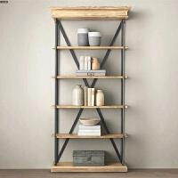 美式复古落地铁艺书架置物架层架书柜厨房隔板实木创意展示架