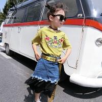 女童打底衫2018夏装新款童装韩版儿童上衣刺绣花朵百搭短袖t恤潮
