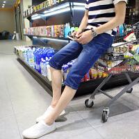 2018夏季小码矮小个子26号27帅T牛仔短裤潮男牛仔裤马裤七分裤子