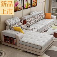 布艺沙发整装简约现代可拆洗大户型储物皮布沙发组合客厅L型转角定制