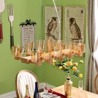 奇居良品 美式现代客厅餐厅灯具 艾尔米水曲柳实木吊灯