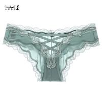 女士内裤女性感无痕中腰棉裆大码蕾丝透明三角裤 绿色 尺码偏大 L 建议120-140斤