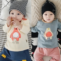 婴儿上衣春秋宝宝T恤衫长袖全棉弹力秋冬打底衫新生周岁婴儿衣服