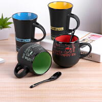 欧式创意咖啡杯带勺马克杯黑色陶瓷水杯办公室牛奶杯可爱喝水杯子