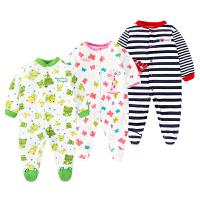 婴儿连体衣服宝宝新生儿冬季0岁3个月6包脚9春装棉长袖新年