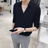 春夏2018新款英伦韩版修身绅士五分短袖T恤上衣男潮青年百搭男t恤