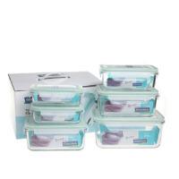 韩国三光云彩GLASSLOCK钢化玻璃保鲜盒微波炉六件套保温饭盒