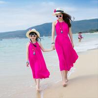 亲子母女装夏装长裙子波西米亚雪纺连衣裙女童海边度假无袖背心裙