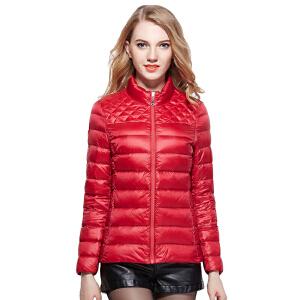 雅鹿秋冬女士女款羽绒服  轻薄 时尚学院风 无帽立领羽绒服外套YQ1103060