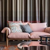 北欧风布艺沙发小户型简约实木卧室单人双人三人组合乳胶懒人沙发